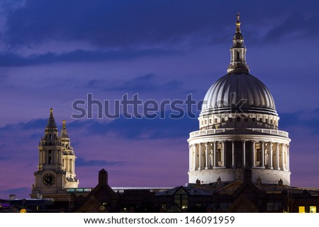 St. Paul's Cathedral at dusk, London. - stock photo