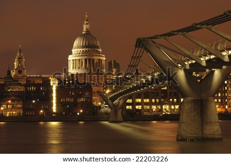 St. Paul's Cathedral at night. - stock photo