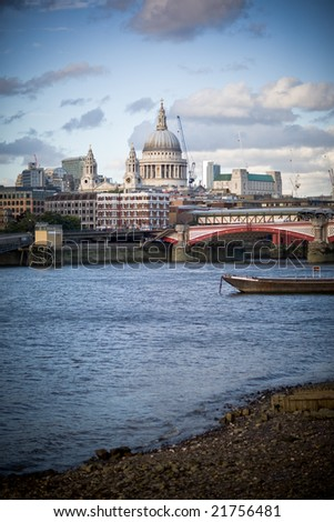 St. Paul's Cathedral from the Thames  embankment - stock photo