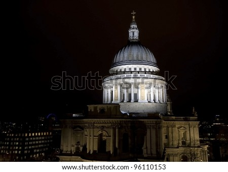 St Paul's Cathedral in London at night - stock photo
