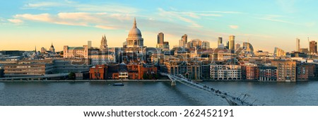 St Paul's cathedral in London at sunset as the famous landmark.  - stock photo