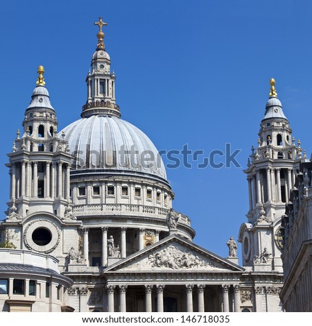 St. Paul's Cathedral in London, England. - stock photo