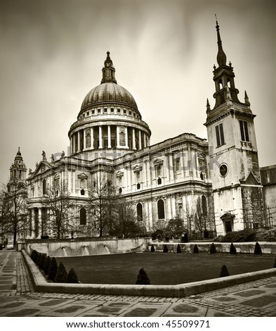 St Paul's Cathedral in London England in winter - stock photo