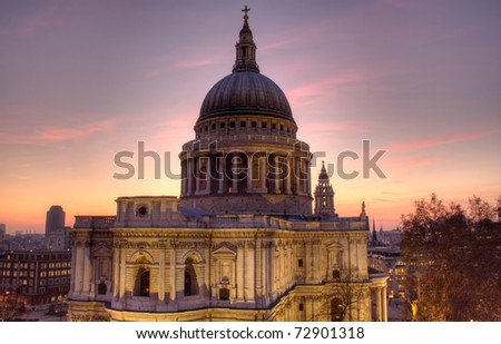 St Paul's Cathedral, London, UK, taken at dusk, from a level perspective - stock photo