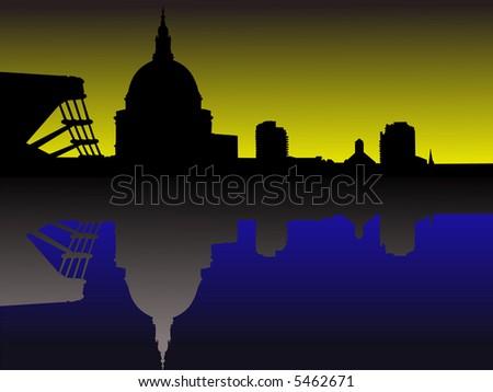 St Pauls and Millennium Bridge at sunset JPG - stock photo