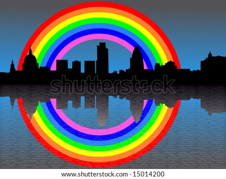 St Pauls Cathedral and London skyline reflected with rainbow illustration JPG - stock photo