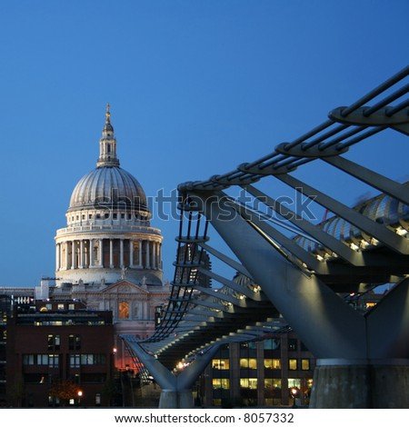 St Pauls cathedral and Millennium bridge, London at night - stock photo