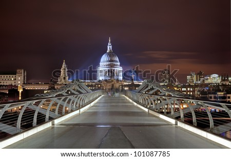 St Pauls Cathedral and Millennium bridge London, Great Britain - stock photo
