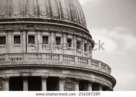 St Pauls Cathedral closeup in London. - stock photo