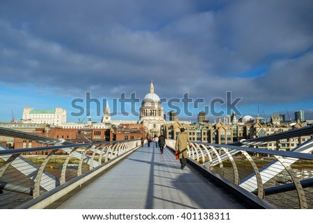 St Pauls Cathedral in London with blue sky - stock photo
