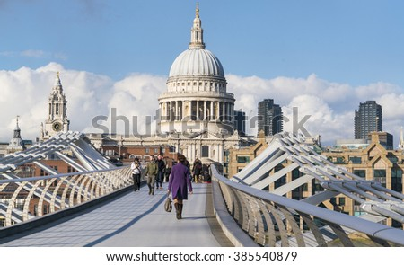 St. Pauls cathedral London and Millennium Bridge over River Thames LONDON, ENGLAND - FEBRUARY 22, 2016