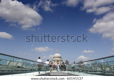 St Pauls looking from the Millennium Bridge, London - stock photo