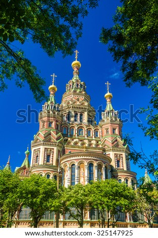St. Peter and Paul Cathedral in Peterhof - Russia - stock photo