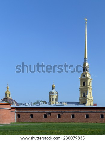 St. Peter and Pavel cathedral in the Peter and Paul Fortress in St.- Petersburg Russia - stock photo