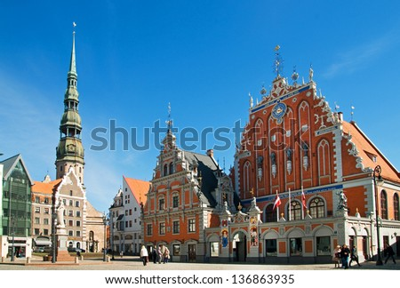 St.Peter Church and House of the Blackheads. Riga, Latvia - stock photo