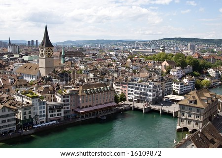 St. Peter church and Limmat river (Zurich, Switzerland) - stock photo