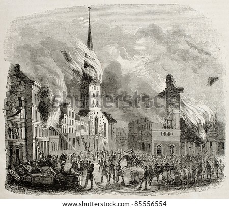St Peter church fire in 1842, Hamburg. By unidentified author, published on Magasin Pittoresque, Paris, 1842 - stock photo