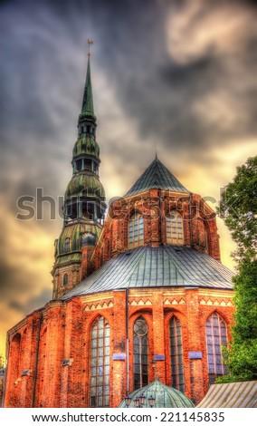 St. Peter Church in Riga - Latvia - stock photo