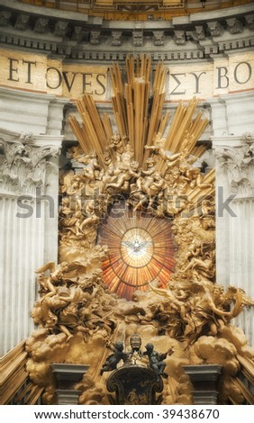 St Peter in Glory in St Peter's Basilica, Vatican City, Rome, Italy with a glow treatment - stock photo