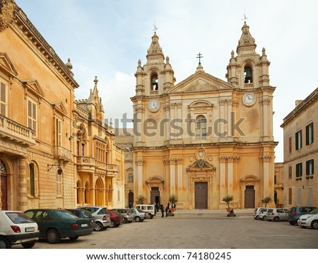 St. Peter & Paul Cathedral at Mdina. Main Cathedral is Malta. Malta - stock photo