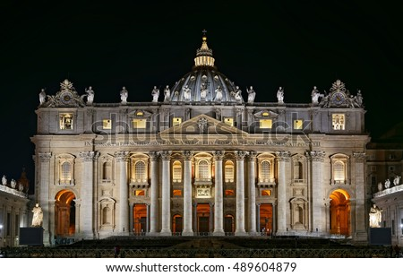 St. Peter's Basilica at night, Vatican, Roma, Italy