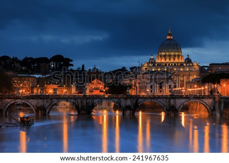 St. Peter's Basilica at the Vatican - stock photo