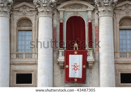 St. Peter's basilica. Balcony where the Pope Benedict XVI spoke to the crowd of faithful in the Christmas Day 2009 - stock photo