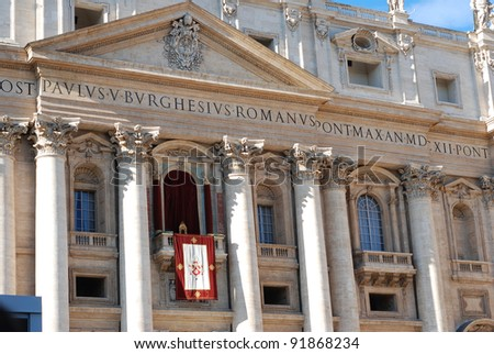 St. Peter's basilica. Balcony where the Pope Benedict XVI spoke to the crowd of faithful in the Christmas Day 2011 - stock photo