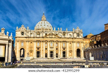 St. Peter's Basilica in Vatican City - Rome - stock photo