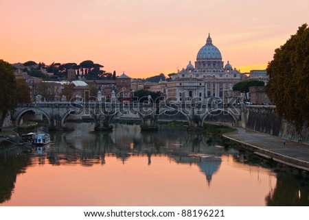 St. Peter's Basilica looking towards Vatican City, in the evening after sunset.