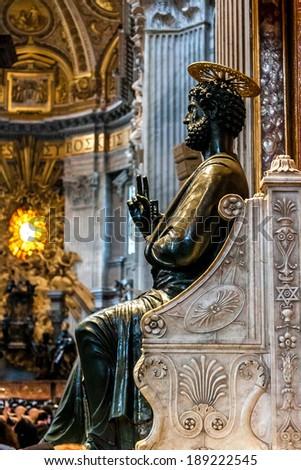 St. Peter's Basilica, St. Peter's Square, Vatican City. Indoor interior - stock photo
