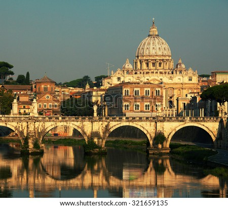 St. Peter's Basilica, Vaticano, Italy, Rome, bridge. Cathedral of St Peters.
