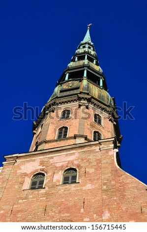 St. Peter's Cathedral in Riga - stock photo