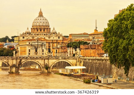St. Peter's cathedral in Rome, Italy. - stock photo