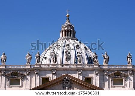 St. Peter's facade in Vatican city - stock photo