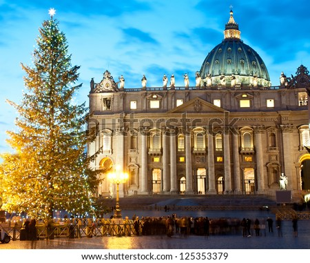 St. Peter's square at Christmas (Rome) - stock photo