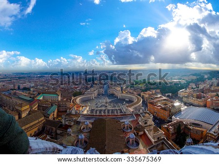 St. Peter's Square on cloudy sky, Vatican, Italy - stock photo