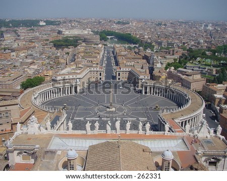 St Peter's Square, Vatican. View from the roof of the Basilica - stock photo