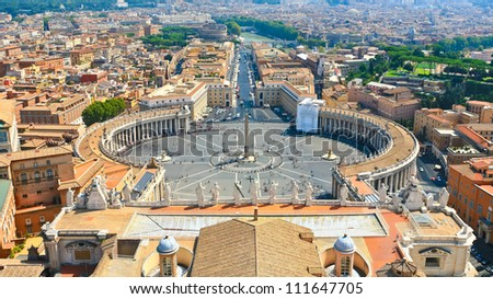 St.Peter Square from roof of St.Peter Basilica, Rome, Italy - stock photo