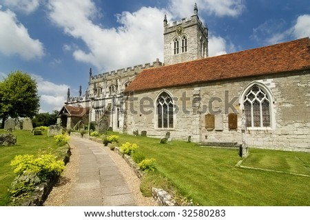St Peters, an Eighth century Saxon church in Wootton Wawen,near Stratford-Upon-Avon in England - stock photo