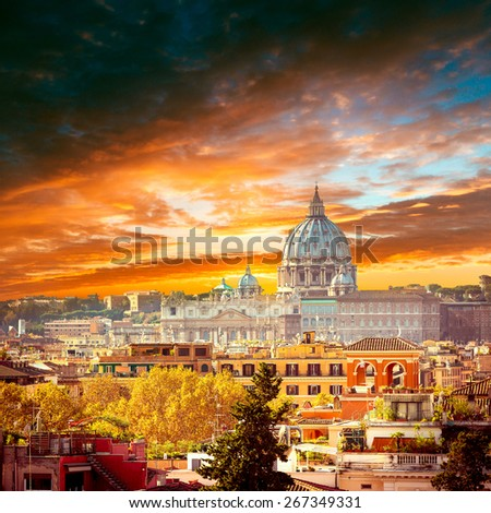 St Peters basilica in Rome, Italy - stock photo