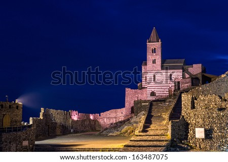 St Peters church in Porto Venere - stock photo