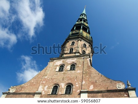 St. Peters Church in Riga, the captial of Latvia - stock photo