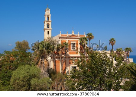 St. Peters Church in the old city of Jaffa in Tel Aviv Israel. - stock photo