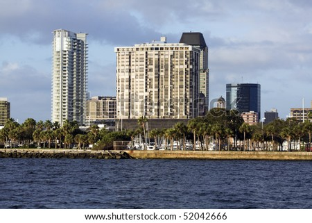 St. Petersburg, Florida - apartments buildings by the water. - stock photo