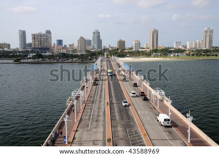 St. Petersburg from the Pier, Florida USA - stock photo