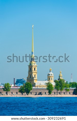 ST. PETERSBURG - MAY 31, 2011: A view at the Peter and Paul Cathedral inside the Peter and Paul Fortress. The church is the first and oldest landmark in St. Petersburg, built in 1712-1733. - stock photo