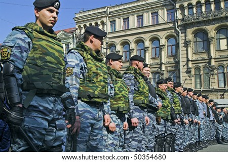 ST PETERSBURG - MAY 1: Police officers lined to keep order during opposition protest rallies May 1, 2008, in St Petersburg, Russia. - stock photo