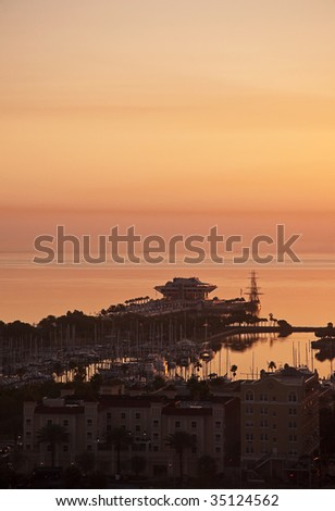 St. Petersburg pier on Tampa Bay at sunrise. - stock photo