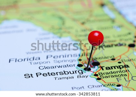 St Petersburg pinned on a map of USA  - stock photo
